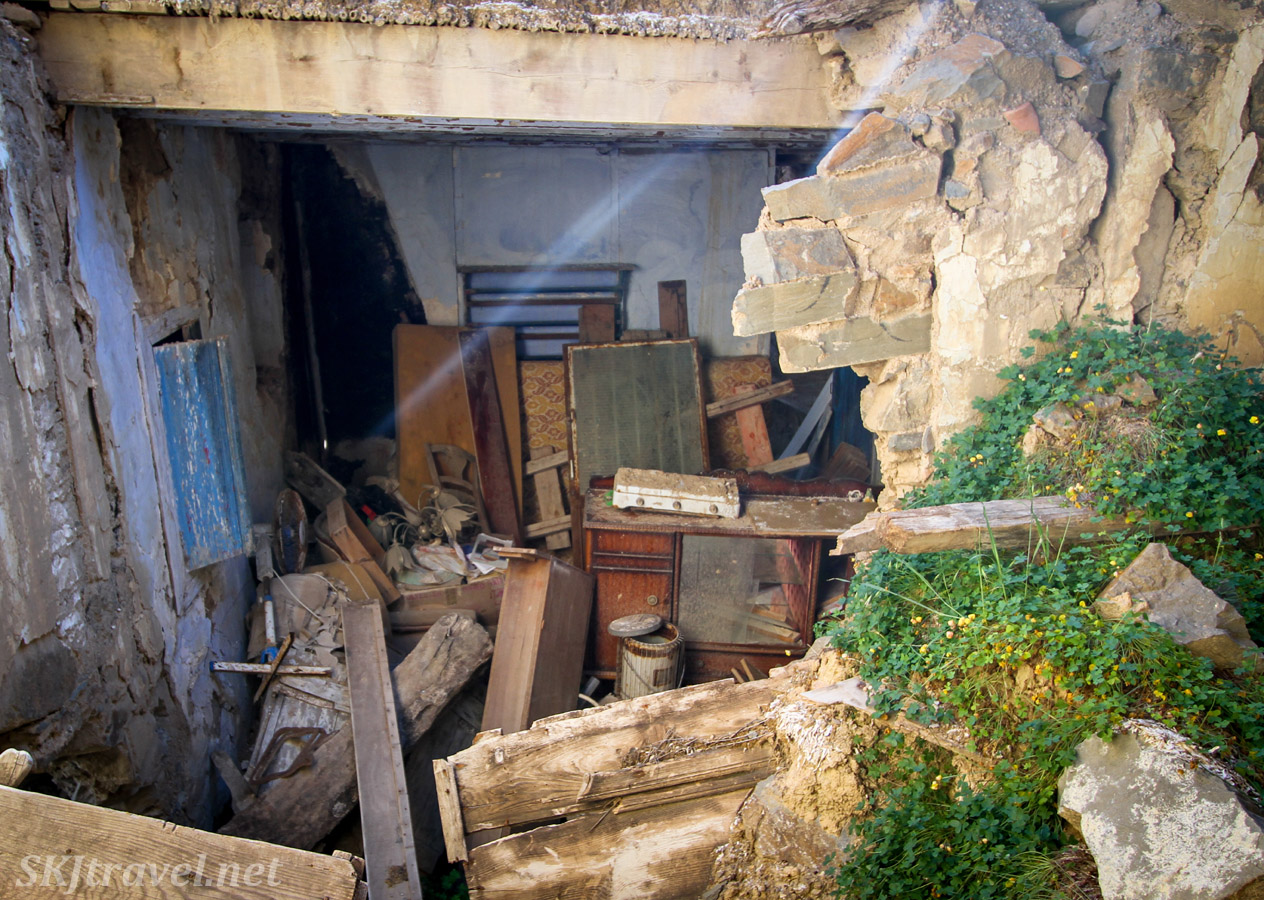 Room of abandoned belongings, Volissos, Chios Island, Greece.