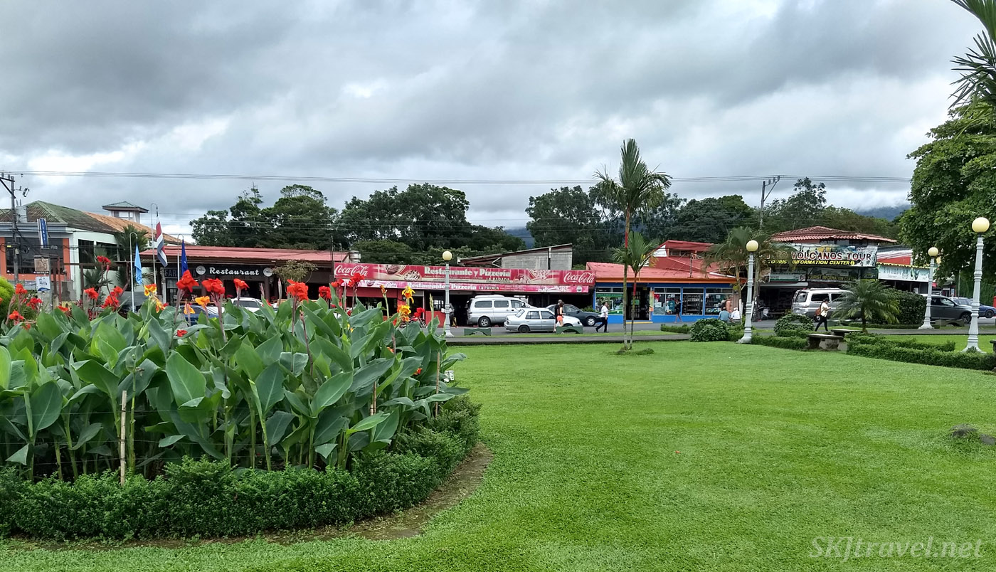 Central park in La Fortuna, Costa Rica.