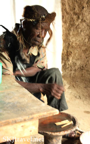 Witch doctor in the Rwenzori Mountains, Uganda.