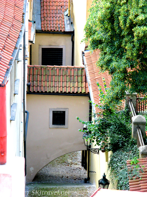 Looking down into a narrow alleyway from the castle gardens. Prague.