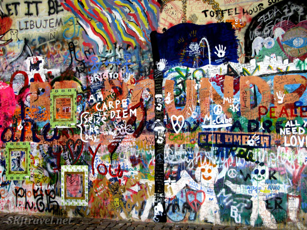 Joh Lennon wall of graffiti.