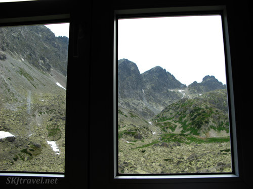 Looking out the window of our chata in the High Tatras, Slovakia.