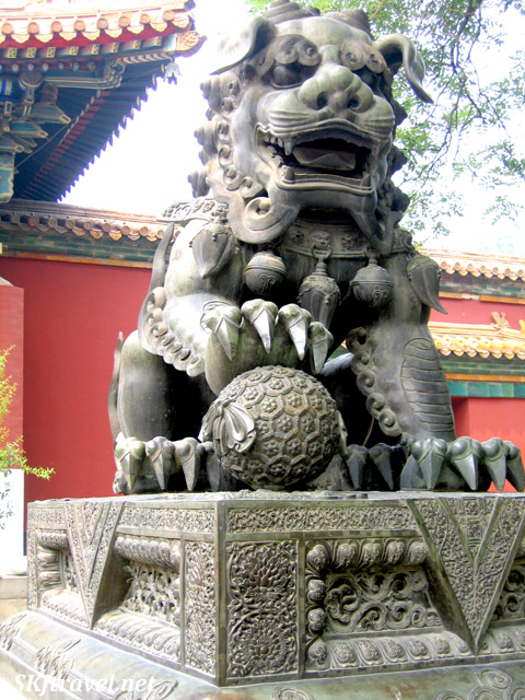 Bronze lion statue inside the Lama Temple complex, Beijing, China.