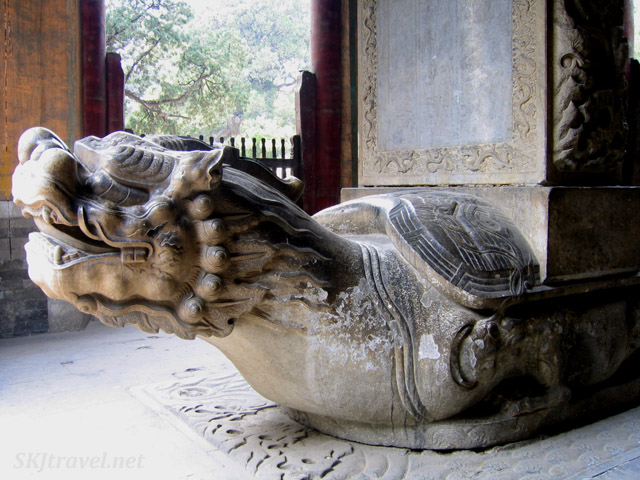 Typical base of a large stone stele, you find these everywhere, at Confucian temple. Beijing, China.