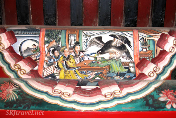 Looks like a falcon has invited himself to dinner ... one of the scenes along the Long Corridor, Summer Palace, China.