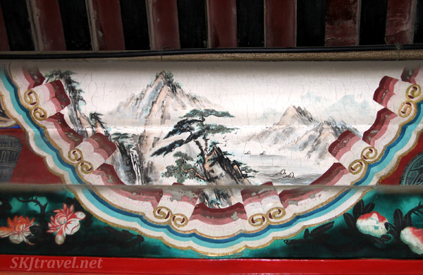 Pleasant mountain landscape painted along the Long Corridor, Summer Palace, China.