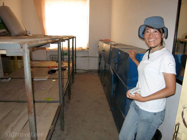 Li-Li showing the dorm room she used to board in at middle school in Wang Jiabian, Shaanxi Province, China.