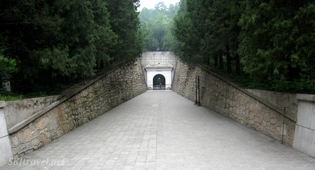 Entrance to the Dingling tomb, the mausoleum of Emperor Wanli (Zhu Yijun), at the Ming Tombs outside Beijing, China.