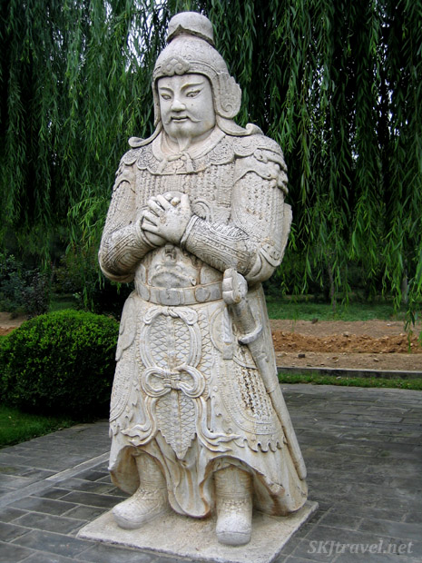 Stone statue of military officer along the Sacred Way, or Spirit Way, at the Ming Tombs outside Beijing, China.