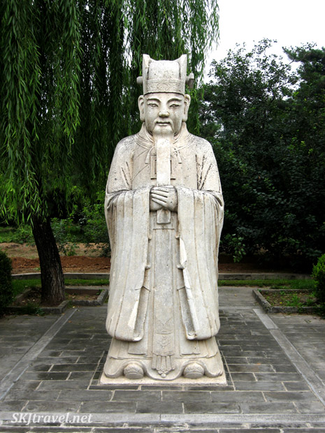 Stone statue of civil officer along the Sacred Way, or Spirit Way, at the Ming Tombs outside Beijing, China.