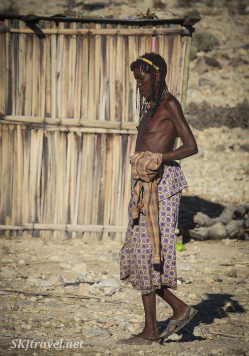 Woman from a traditional Angola tribe near Epupa Falls, Kaokoland, Namibia.