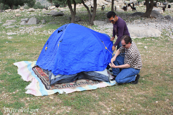 Erik and Farshad setting up tent.