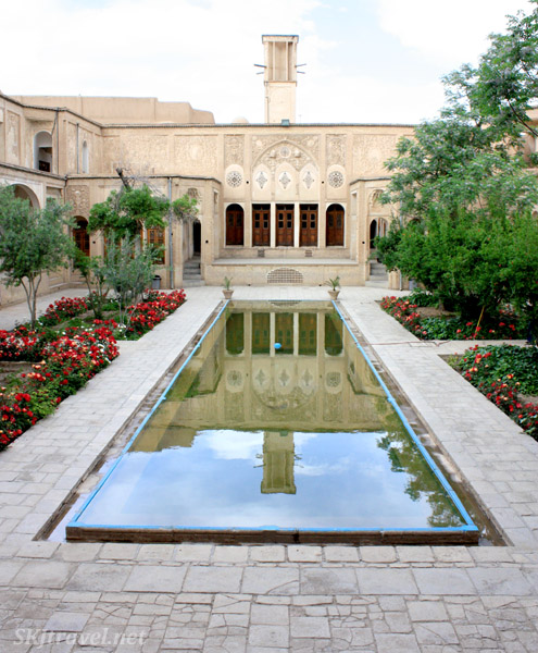 Reflecting pool in the inner courtyard of Borujerdi House in Kashan, Iran.
