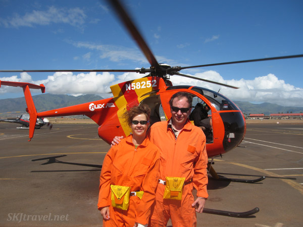 Erik and Shara embark on a new experience, riding a helicopter in Maui, Hawaii.