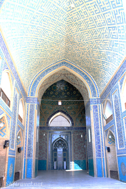Looking down the entrance corridor, Friday mosque in Yazd, Iran.