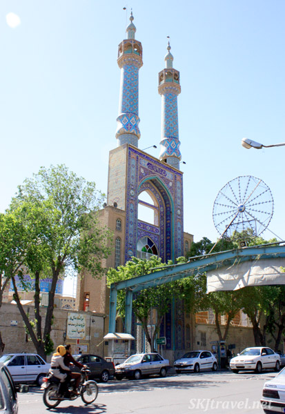 City street with mosque, Yazd, Iran.