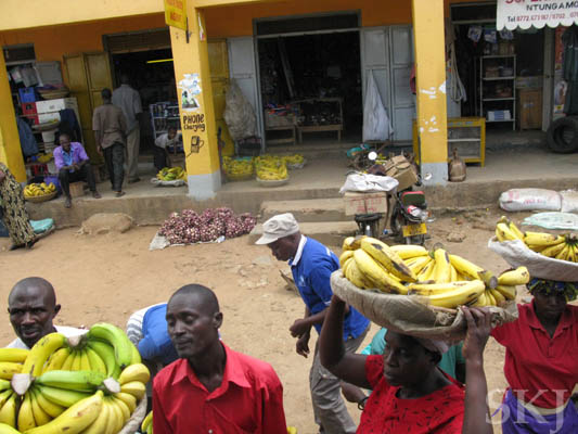 Banana vendors outside the bus, selling to bus passengers through the window. Uganda.