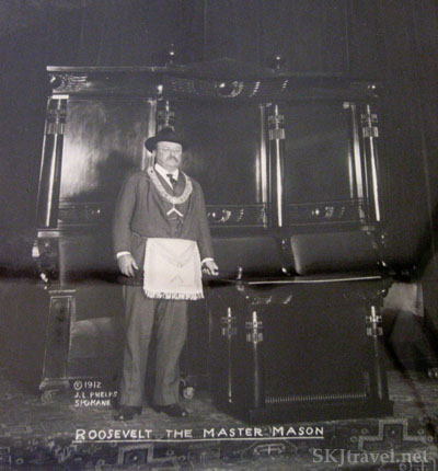 Old photograph of Teddy Roosevelt as a Master Mason. Glenwood Springs, Colorado.