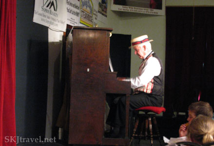 Playing the piano for a sing-along before the Vaudeville show, Glenwood Springs, Colorado.