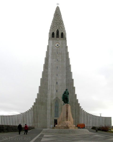 Modern church in Reykjavik, Iceland on a cloudy day. Photo by Shara Johnson