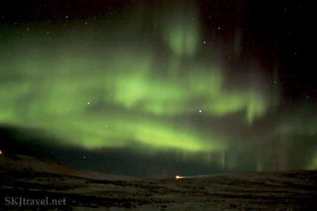 Green aurora borealis, northern lights, with hint of red outside Reykjavik, Iceland. Photo by Shara Johnson